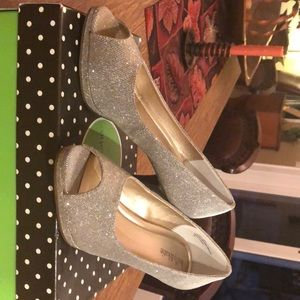 New Kelly and Kate silver peep toe pumps